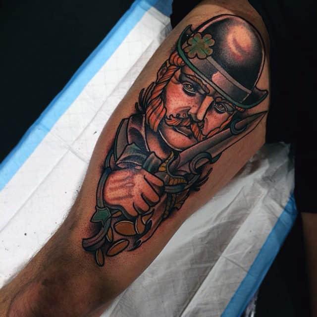 Neo Traditional Mens Irish Thigh Tattoo