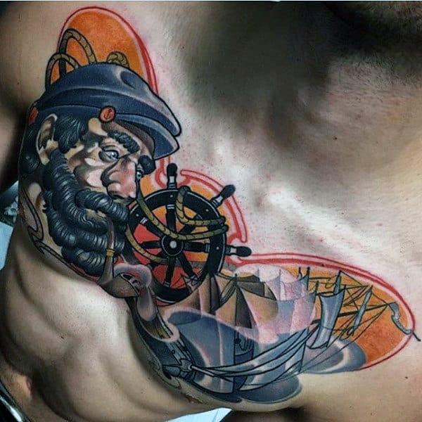 Neo Traditional Mens Sailor Nautical Chest Tattoo Ideas