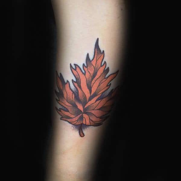 Neo Traditional Orange Maple Leaf Small Guys Tattoos