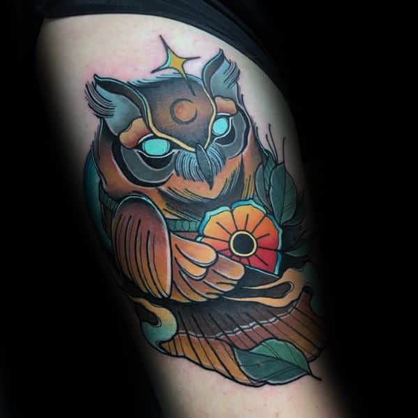 Neo Traditional Owl Male Tattoos