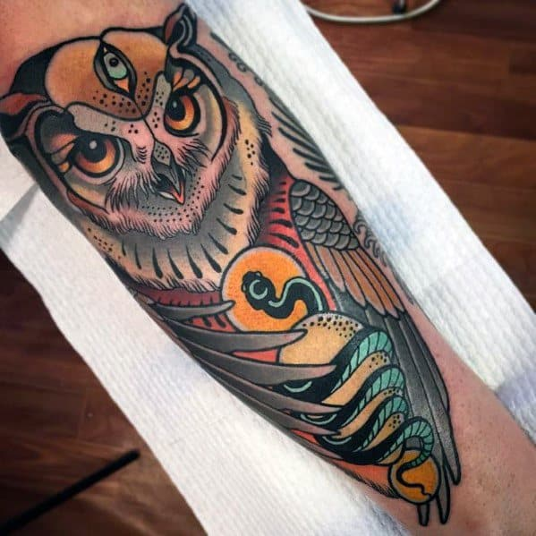Neo Traditional Owl Tattoo Designs For Gentlemen