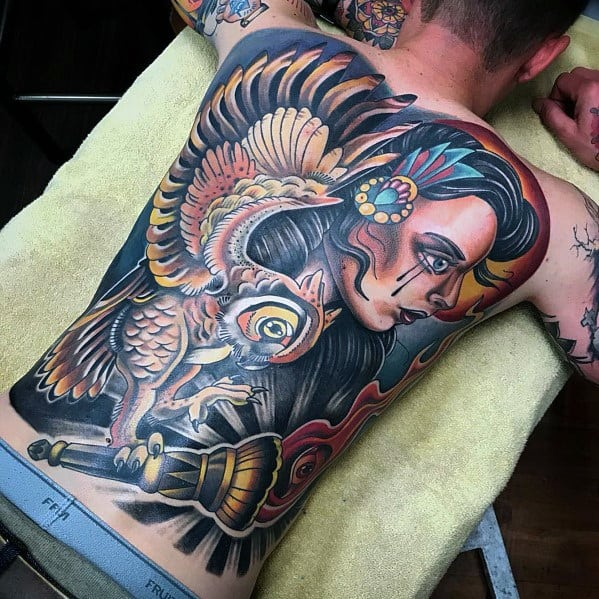 Neo Traditional Owl Tattoos For Men