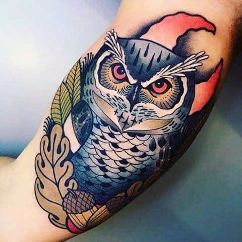 Neo Traditional Owl Themed Tattoo Ideas For Men