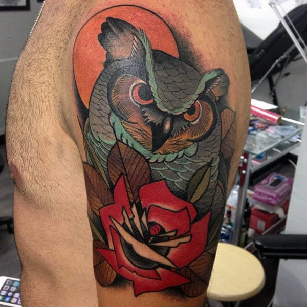 Neo Traditional Owl With Red Rose Flower Artistic Guys Arm Tattoos
