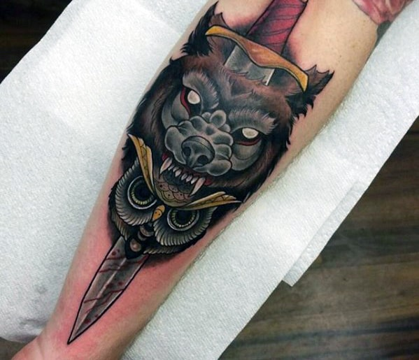 Neo Traditional Owl With Wolf And Dagger Guys Outer Forearm Tattoo