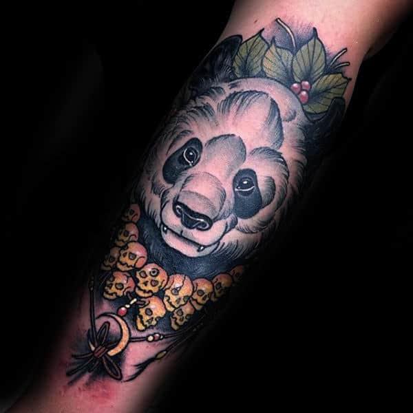 Neo Traditional Panda Skull Necklace Mens Forearm Tattoos
