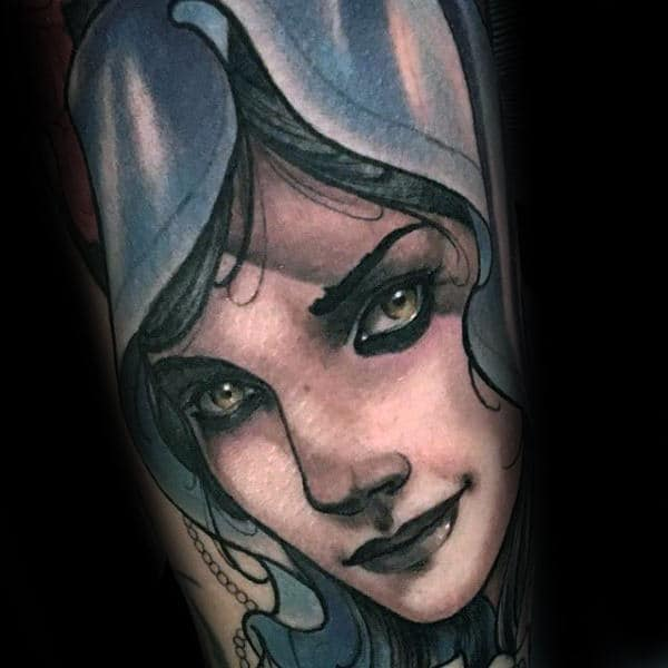 Neo Traditional Portrait Virgin Mary Guys Arm Tattoos