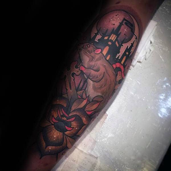 Neo Traditional Rat With Castle Mens Leg Sleeve Tattoo
