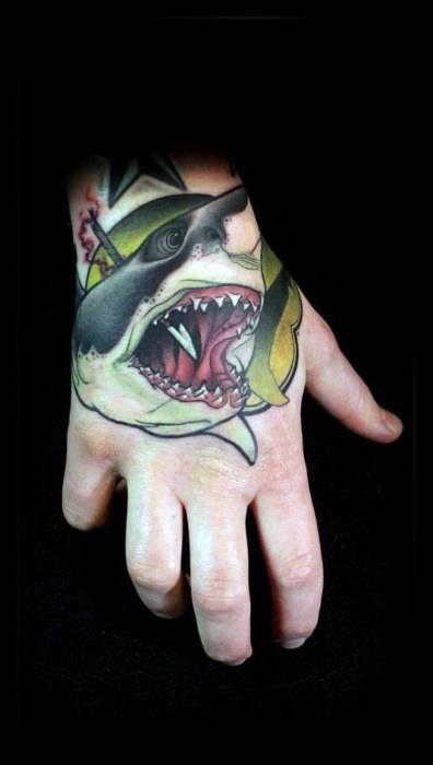 Neo Traditional Shark Tattoo Ideas For Males