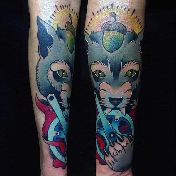 Neo Traditional Sharp Clawed Animal Tattoo Male Forearms