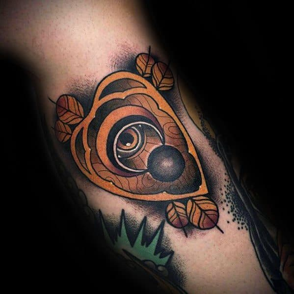 Neo Traditional Side Of Leg Planchette Tattoo Ideas For Males