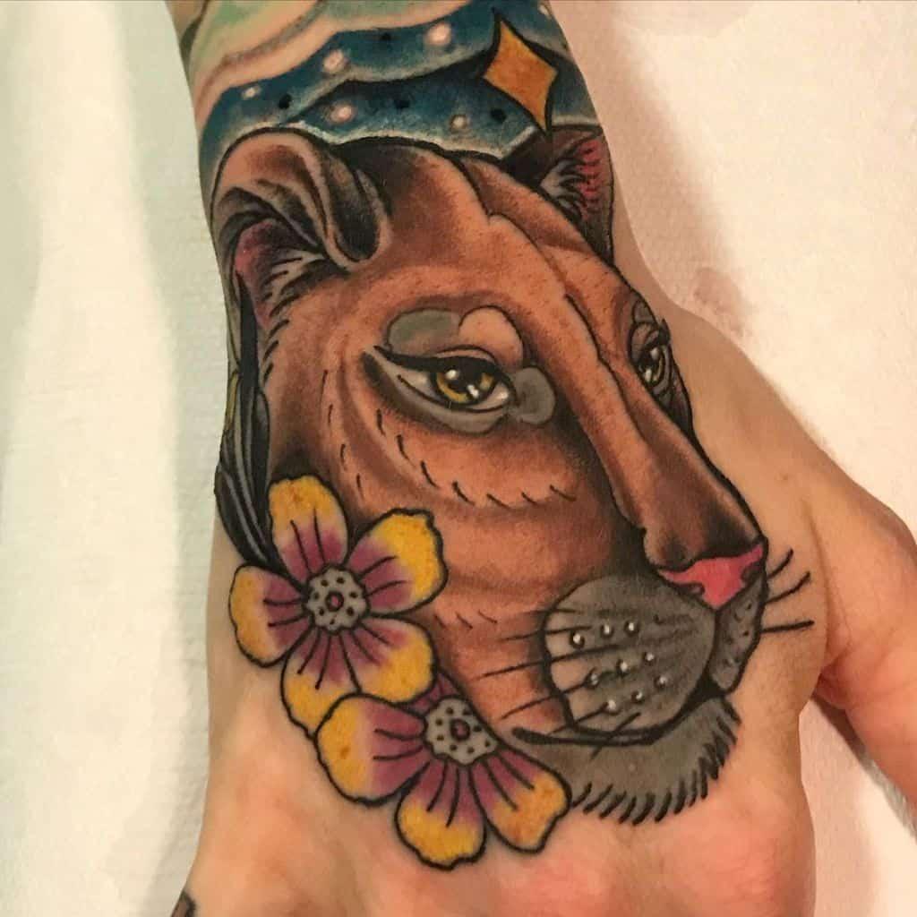 Neo Traditional Skin Art Lioness Tattoo