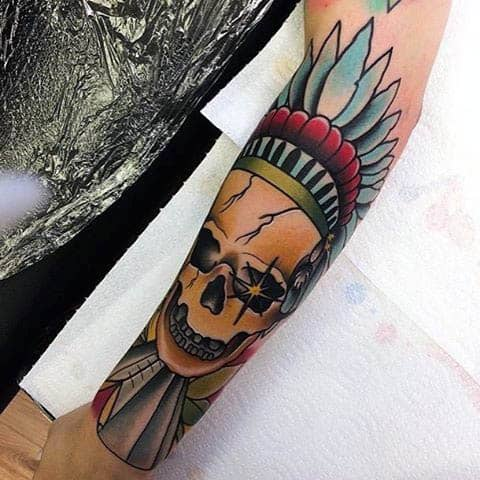 Neo Traditional Skull With Decorative Headpiece Tattoo Guys Forearm