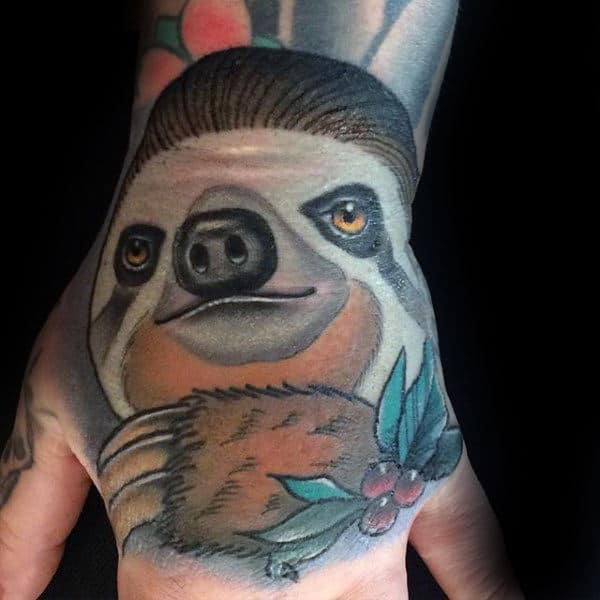 Neo Traditional Sloth Mens Hand Tattoos