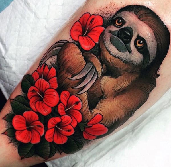 Neo Traditional Sloth Mens Red Flower Arm Tattoo Designs