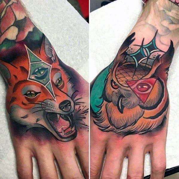 Neo Traditional Unique Hand Owl And Fox Tattoos For Men