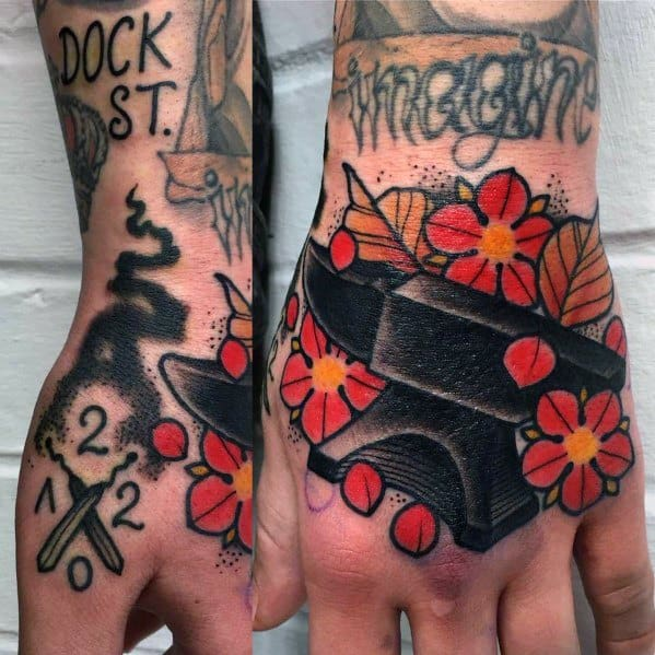 Neo Traditional Unique Mens Anvil Tattoos O Hand