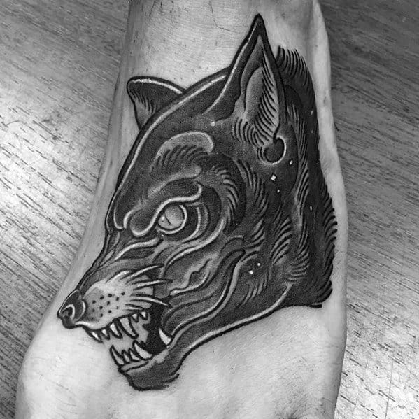 Neo Traditional Wolf Coolest Small Guys Foot Tattoos