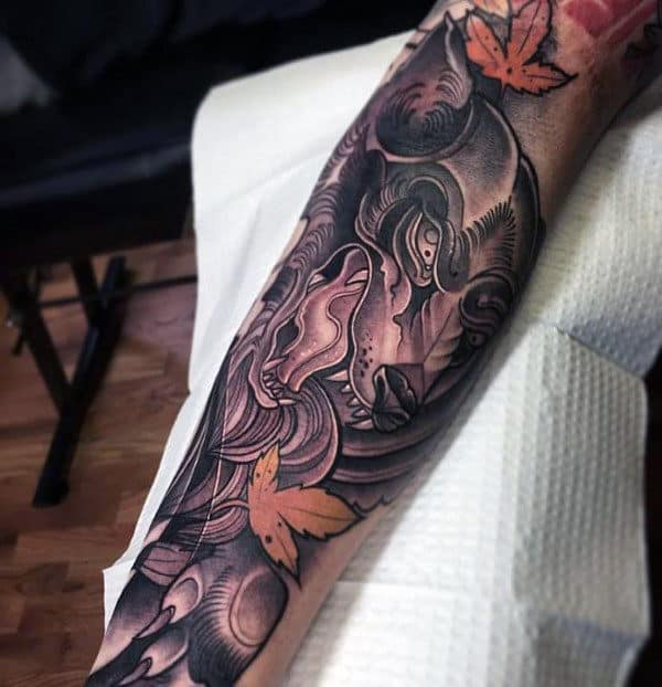 Neo Traditional Wolf Male Forearm Tattoo Ideas