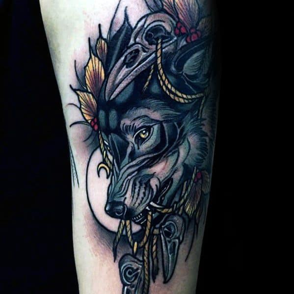 Neo Traditional Wolf Mens Tattoos
