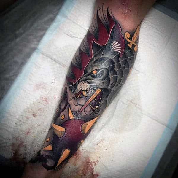 Neo Traditional Wolf Mine Badass Half Sleeve Tattoos For Guys