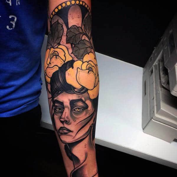 Neo Traditional Yellow Rose And Lady Tattoo Mens Forearms
