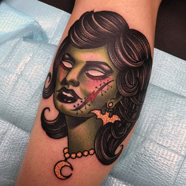 Neo Traditional Zombie Female Tattoo On Mans Forearm