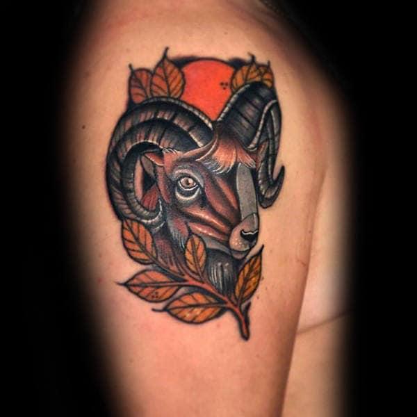 Neo Traditonal Aries Male Upper Arm Tattoo