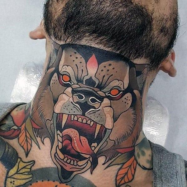 Neo Traditonal Artistic Mens Wolf Neck Tattoos
