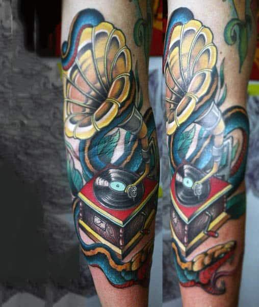 Neo Traditonal Blow Horn Tattoo Mens Forearms
