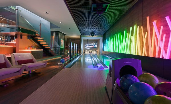 Neon Lights Mens Bowling Alley Basement Game Room Inspiration
