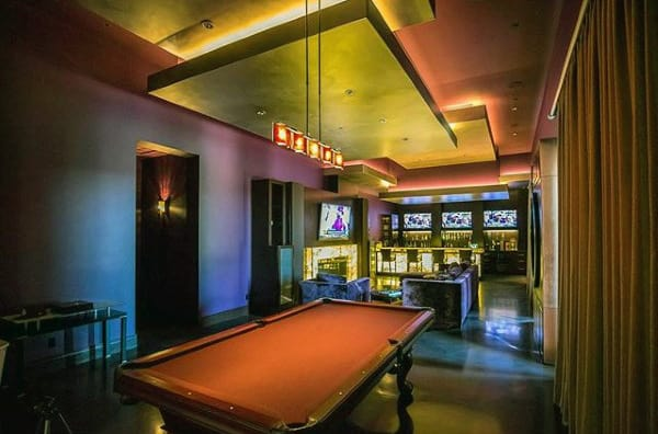 Neon Lights With Pool Table Mens Game Room Ideas