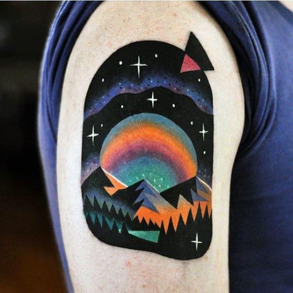 Neon Unique Mens Upper Arm Nature Tattoo Ideas