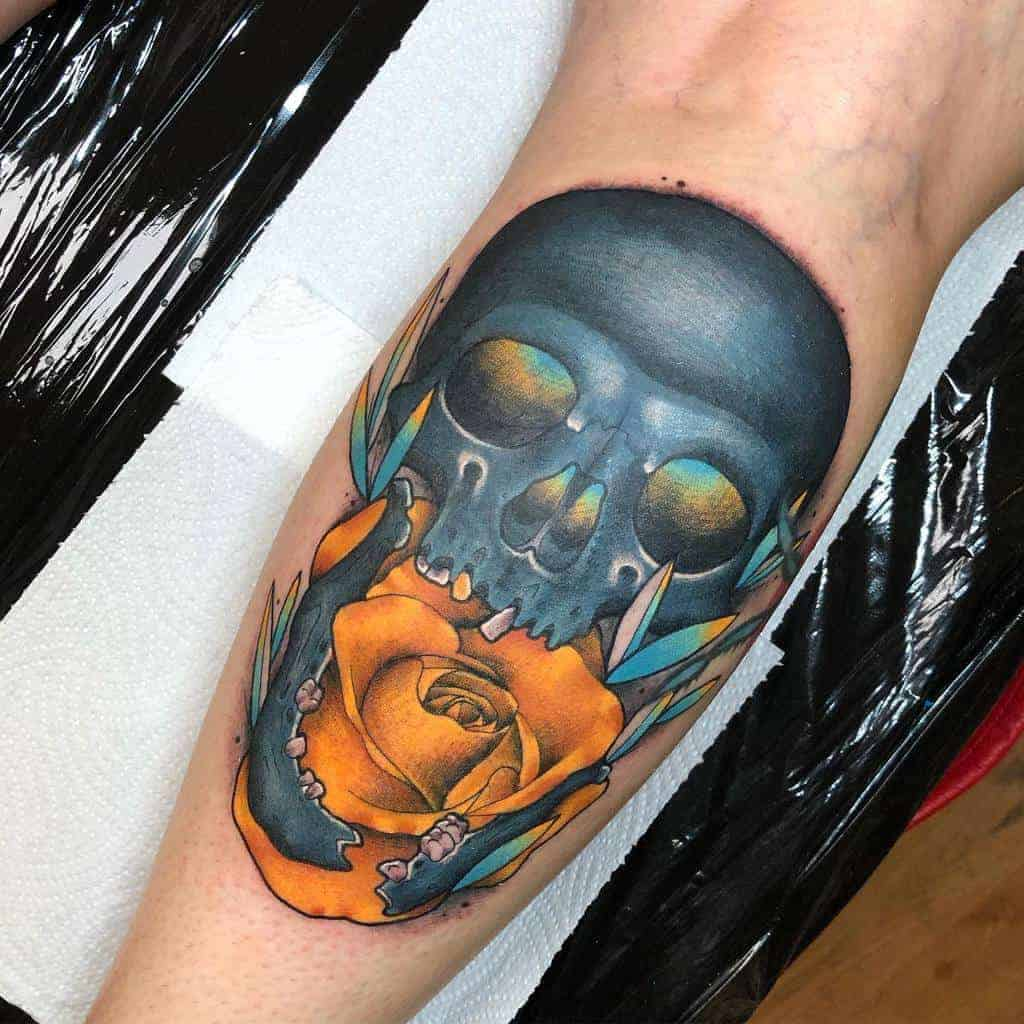 neotraditional-colored-skull-rose-tattoo