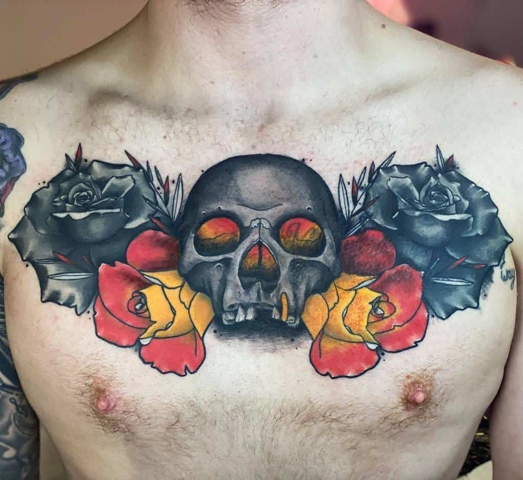 neotraditional-colored-skull-rose-tattoo-tattoos.by.tank