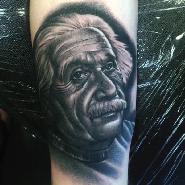 Nerdy Mens Science Tattoos Of Einstein