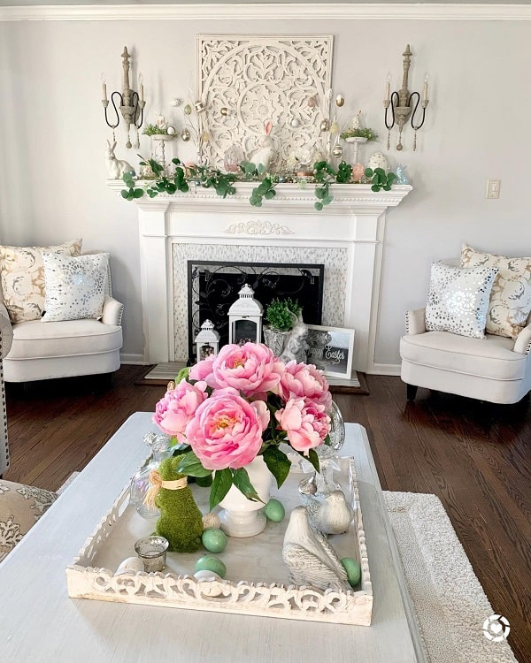 Neutral Spring Mantel Decor Ideas Designbyangelique