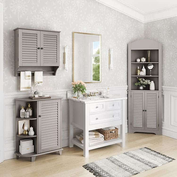 Neutral Taupe Finish Awkward Corner Cabinet Riverridgehome