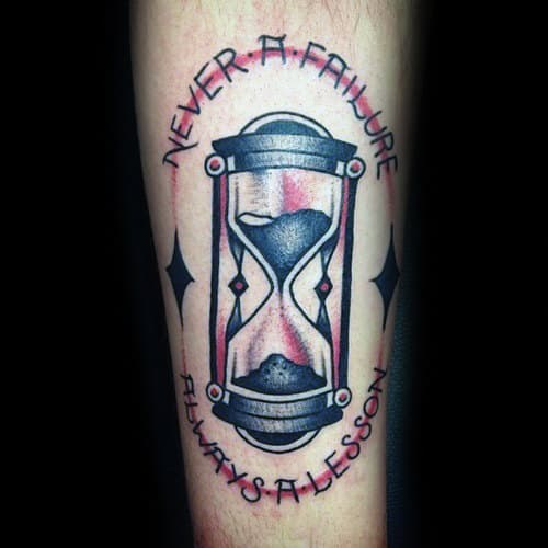 Never A Failure Always A Lesson Mens Traditional Hourglass Inner Forearm Tattoo