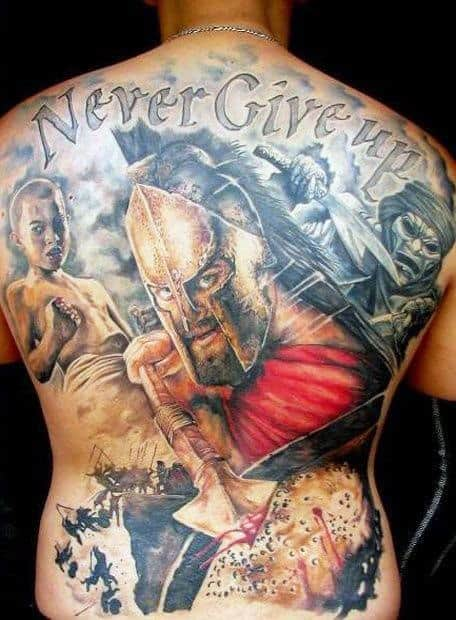 Never Give Up Guys Tattoo Designs On Back