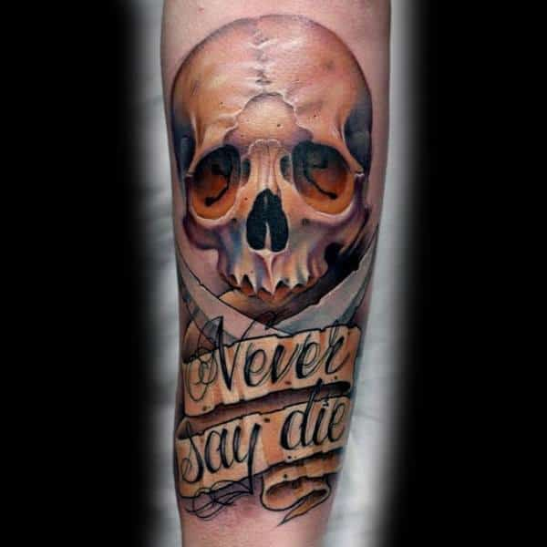Never Say Die Forearm Goonies Tattoo Ideas For Men