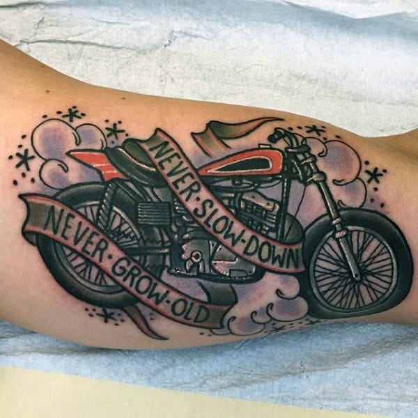 Never Slow Down Never Grow Old Harley Davidson Tattoos For Men On Bicep