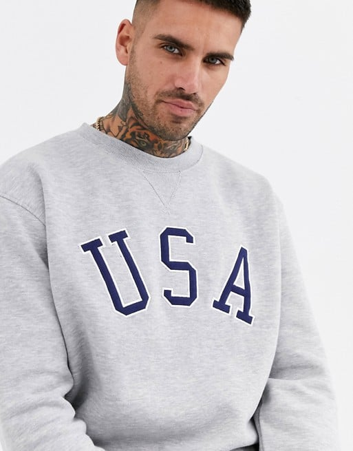 new look u.s.a print sweat in grey