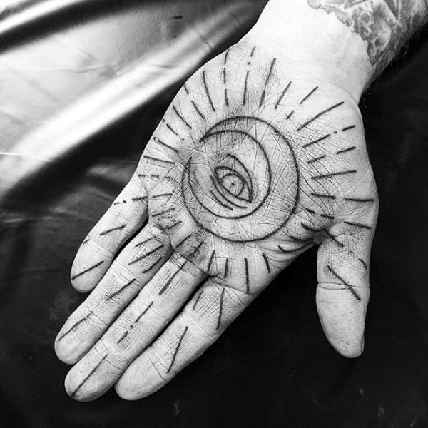 New Moon And Eye Tattoo Male Palm
