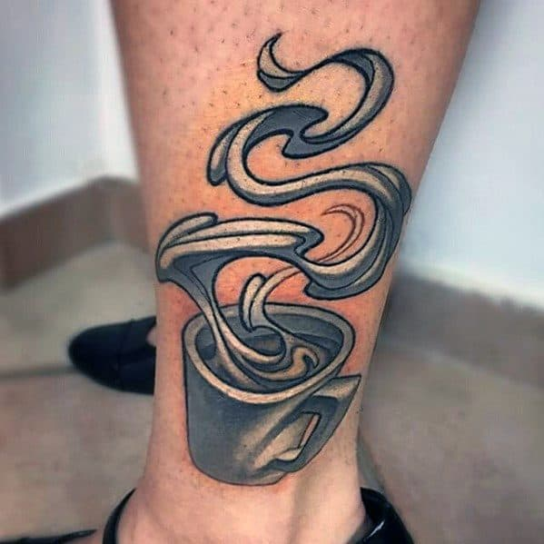 New School 3d Coffee Cup Male Side Of Leg Tattoo Ideas
