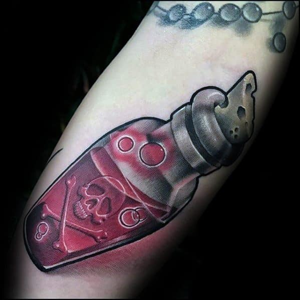 New School 3d Forearm Poison Bottle Male Rad Tattoo Ideas