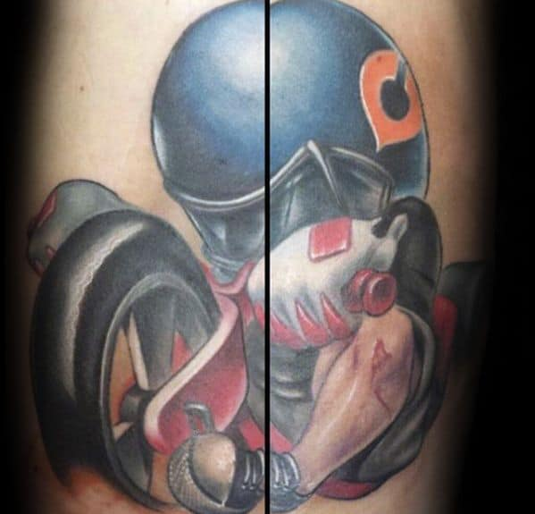 New School 3d Guys Chicago Bears Tattoo Deisgns On Arm