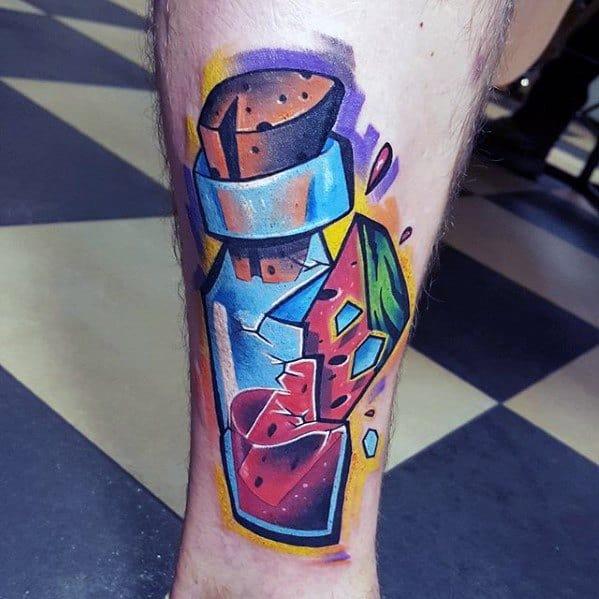 New School 3d Leg Male Watermelon Tattoo Ideas