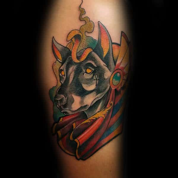 New School Anubis Canine Arm Tattoos For Males