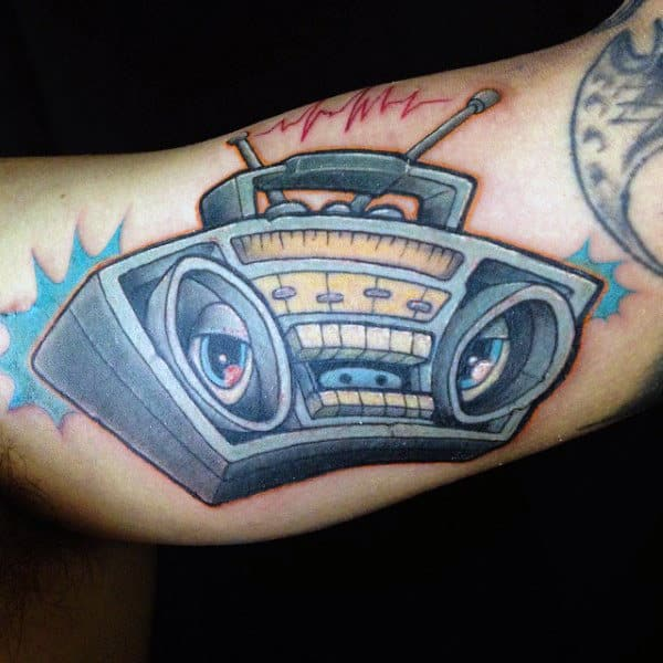 New School Boombox Mens Bicep Tattoos